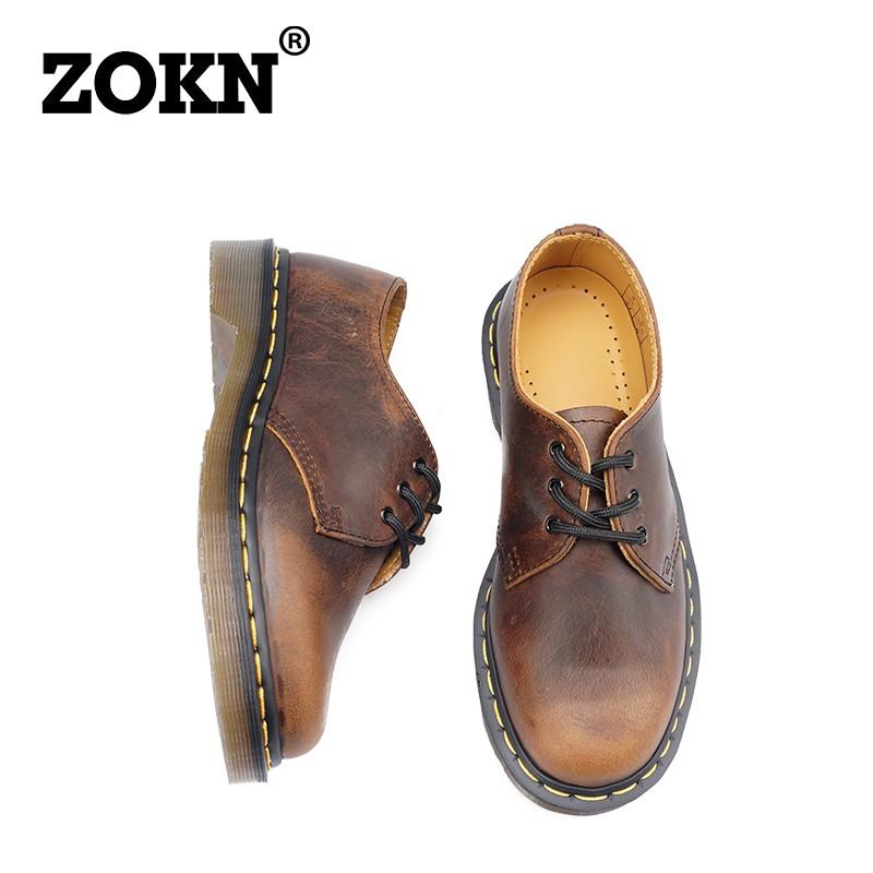免運#現貨#好物#zokn1461復古瘋馬皮馬丁鞋女固特異做舊真皮情侶單鞋男低幫馬丁靴