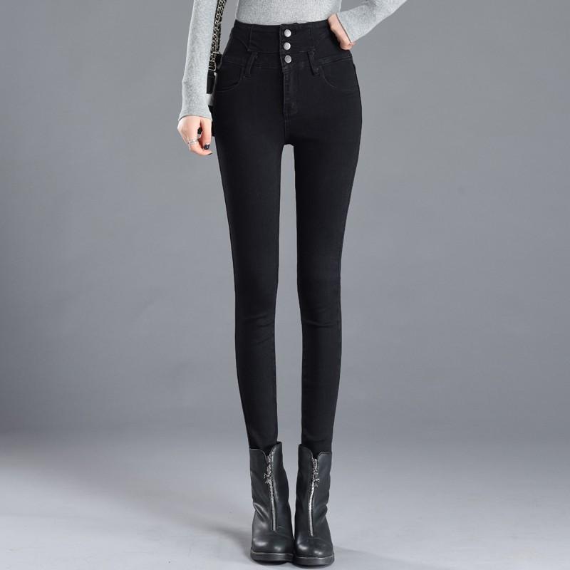 女士牛仔緊身褲Button Fly高腰彈力牛仔褲修身鉛筆褲牛仔褲femme 2019風格新款
