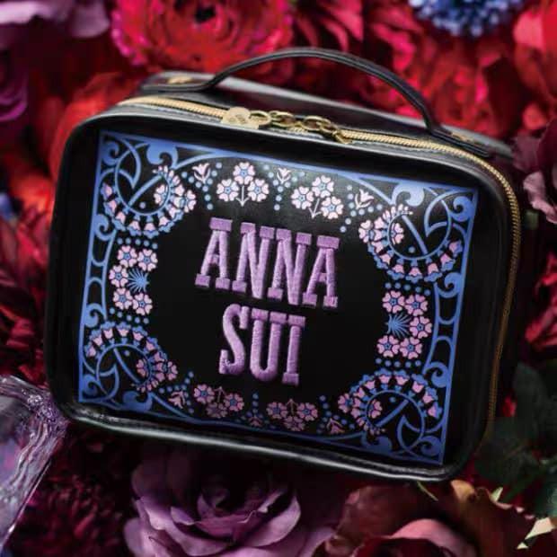 ★JS日雜附錄★ Anna sui 安娜蘇 黑紫 刺繡款 拉鍊 更衣室 化妝包 小物 收納包 萬用包
