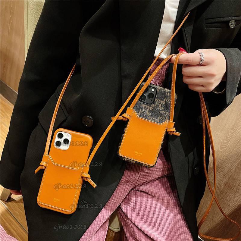 歐美高檔celine插卡手機殼適用iPhone 12 12pro 11 XR 8Plus 手機殼皮質 掛脖掛繩防摔女款潮