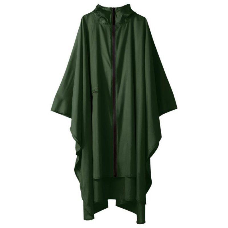 KIU 日本軍風防水斗篷雨衣|軍綠[附收納袋]