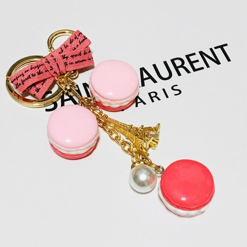 可愛甜滋滋馬卡龍鑰匙圈吊飾 蜜桃粉 巴黎鐵塔 包包吊飾 現貨