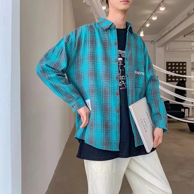 格子襯衫 S-2XL chic韓國襯衫 韓版寬松長袖襯衣 百搭休閑薄款外套 學院風學生格紋襯衫 三色可選