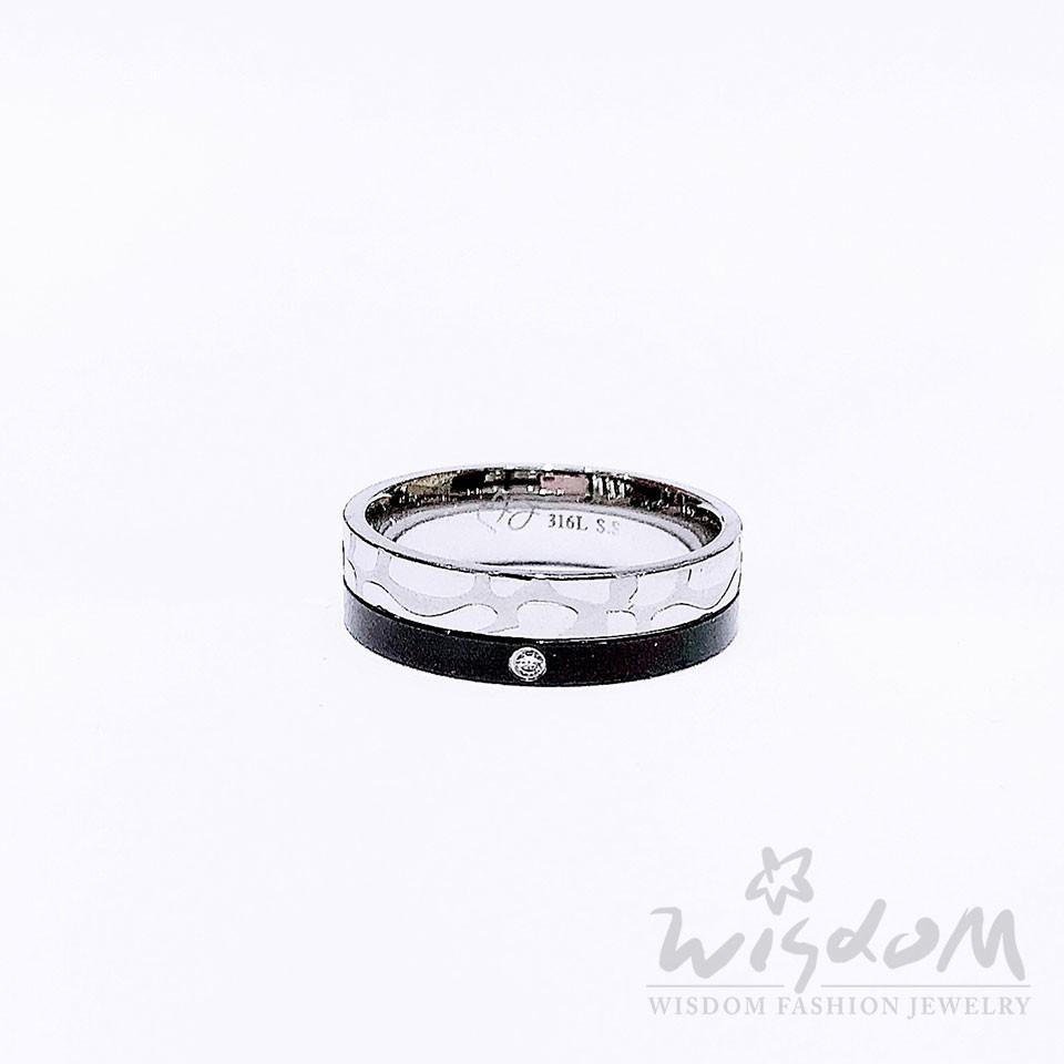 威世登 斑紋造型白鋼戒指 生日禮物 A22BNAH00007-ABXX