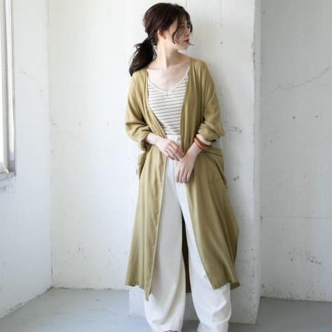 【KBF】配色滾邊長罩衫