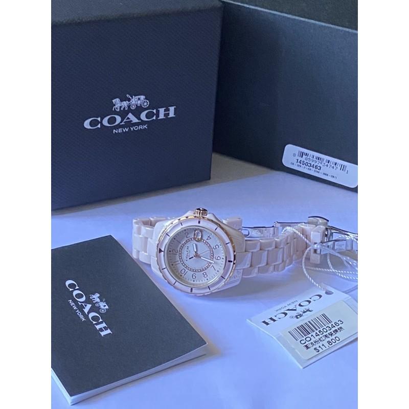 全新正品COACH 手錶 淡粉紅陶瓷錶CO14503463