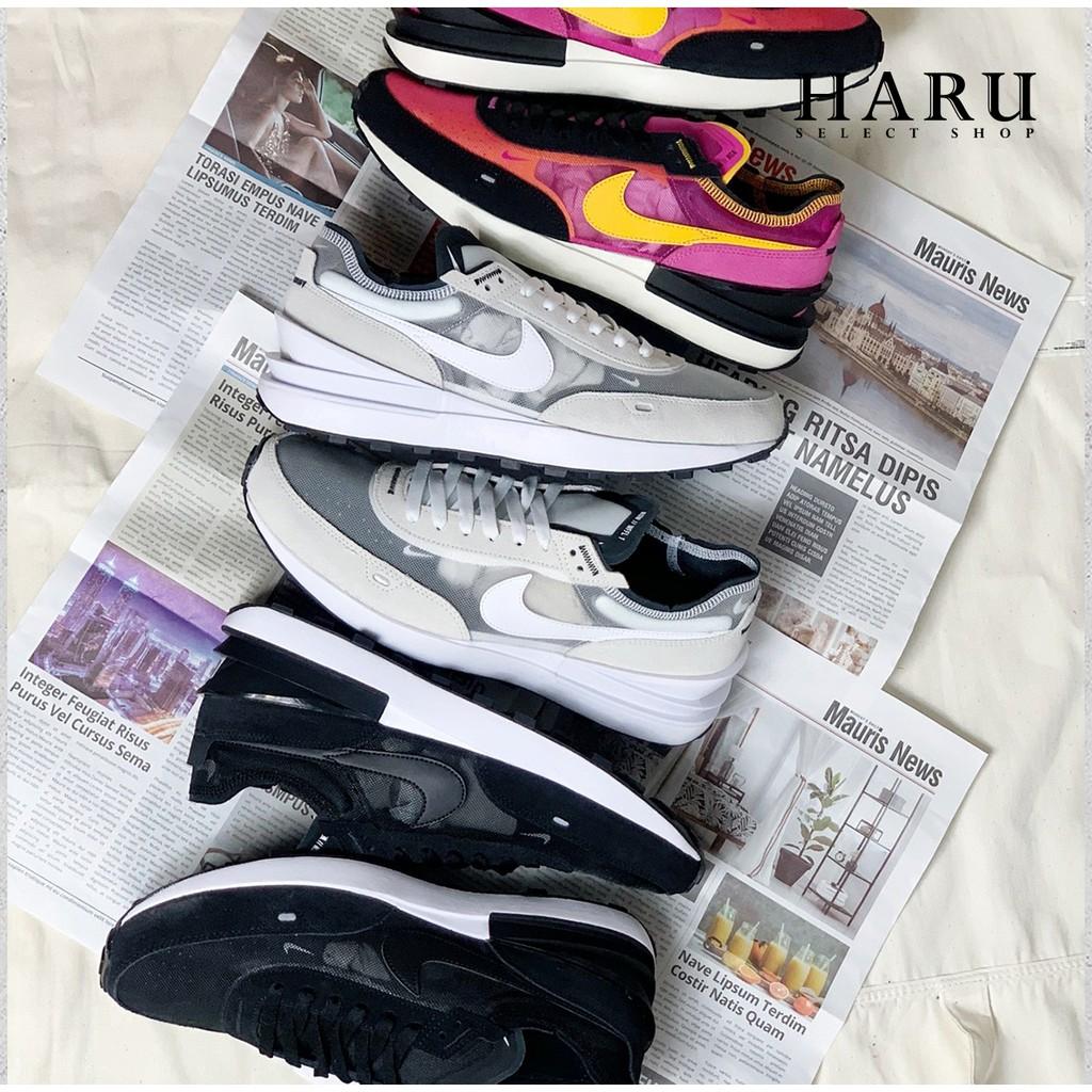 6折販售 NIKE WAFFLE ONE SACAI 奶油白灰黑桃紅 小迪奧 解構 慢跑鞋 DA7995-100-001