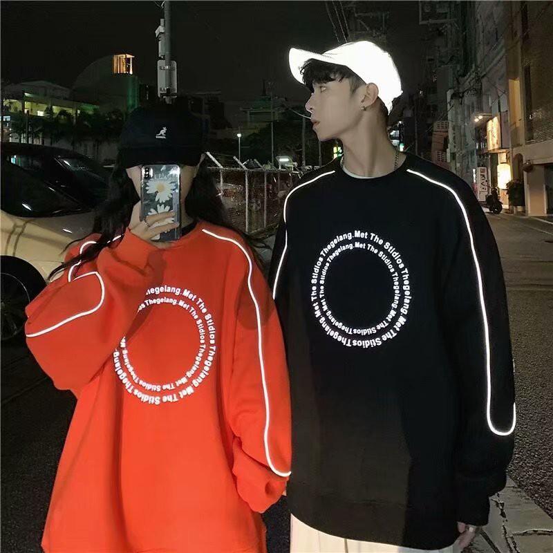 2020韓版青春潮流新品線條反光寬鬆圓領休閑純色長袖情侶款衛衣(XL815)【壹號站】