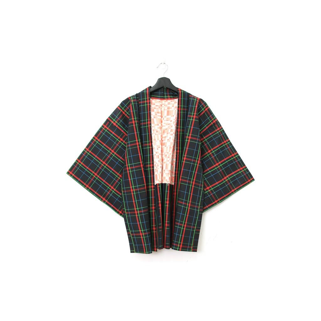 Back to Green-日本帶回羽織 藍格紅綠線條 /vintage kimono