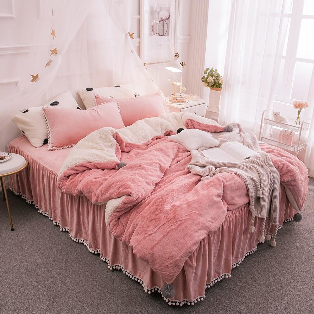 床裙組 兔兔絨梨花球公主風床裙【多款任選】現貨 可超取 [台灣床組專用] 單人 雙人 雙人加大 沐眠家居