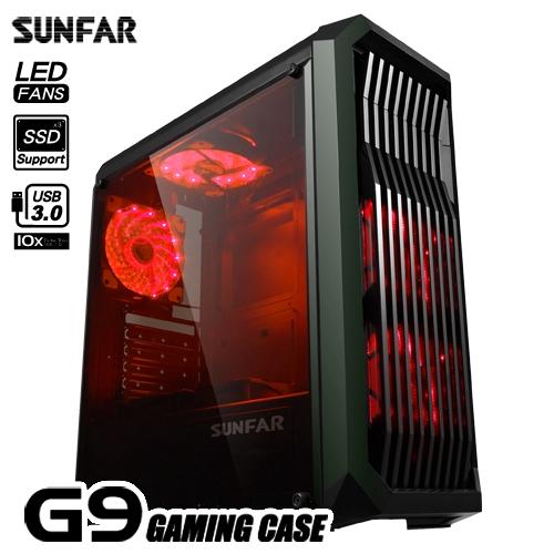 順發 SUNFAR G9 電腦機殼 1大2小 ATX / M-ATX / mini-ITX 附2個風扇 黑色
