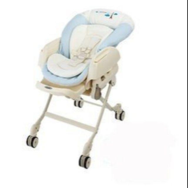 Combi 電動餐搖椅Letto ST 藍色巴黎+ 防汙墊+專用蚊帳