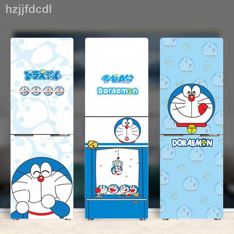 bb哆啦A夢冰箱貼紙自粘 創意卡通冰箱貼 多啦機器貓雙開門冰箱貼紙