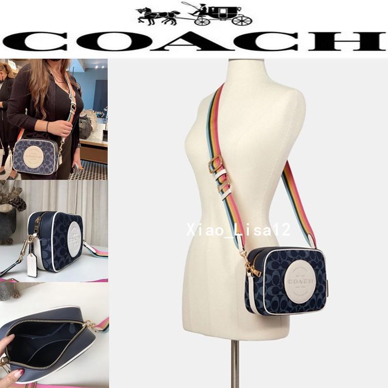 正品代購 COACH/蔻馳女包 奧萊相機包 經典標誌貼飾DEMPSEY相機包2822 側背包 斜挎包 牛仔布料配皮
