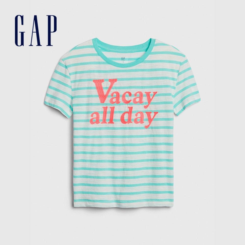 Gap 女童 復古條紋印花圓領短袖T恤 577831-綠色條紋