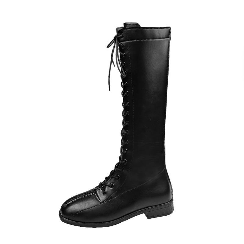新款 熱賣靴子女長靴不過膝小個子秋冬季瘦瘦靴英倫風系帶顯瘦高筒騎士靴子