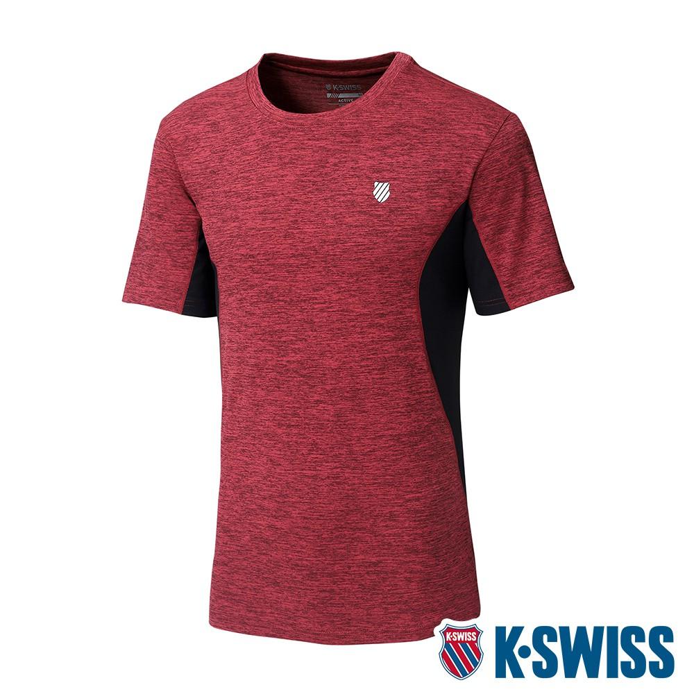 K-SWISS Neon Logo Tee涼感排汗T恤-男-紅