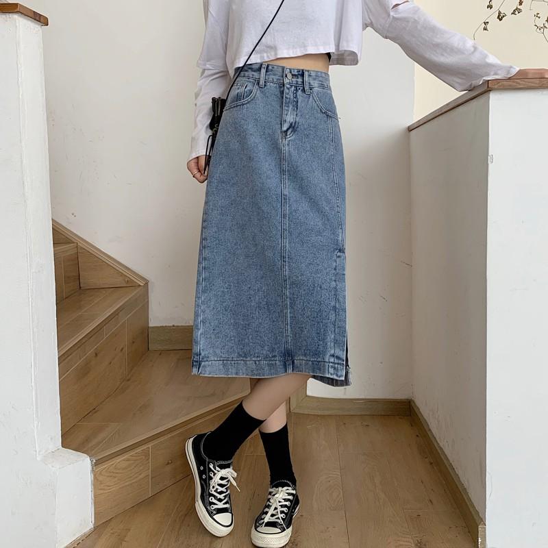 2020新款韓版chic高腰顯腿長中長裙設計開叉牛仔半身裙