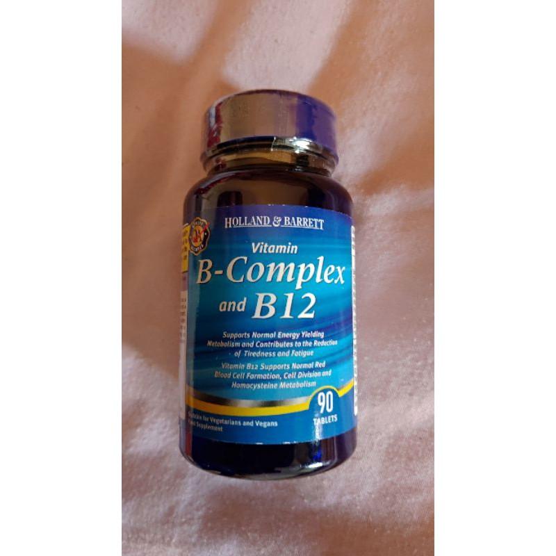 (現貨)英國荷柏瑞 Holland & Barret_B-Complex B12 維他命B群/B12_90粒(素)