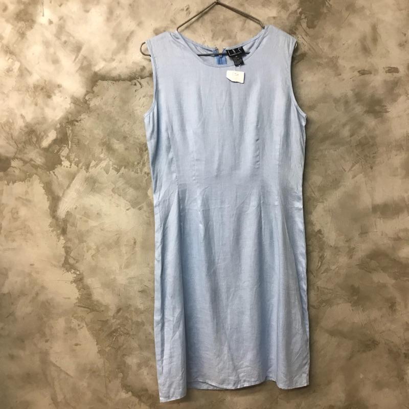 INC 水藍色亞麻無袖洋裝 連身裙 實際顏色較飽和 肩寬37 胸寬47 腰寬40 臀寬50 全長90 袖圈一不明顯小點