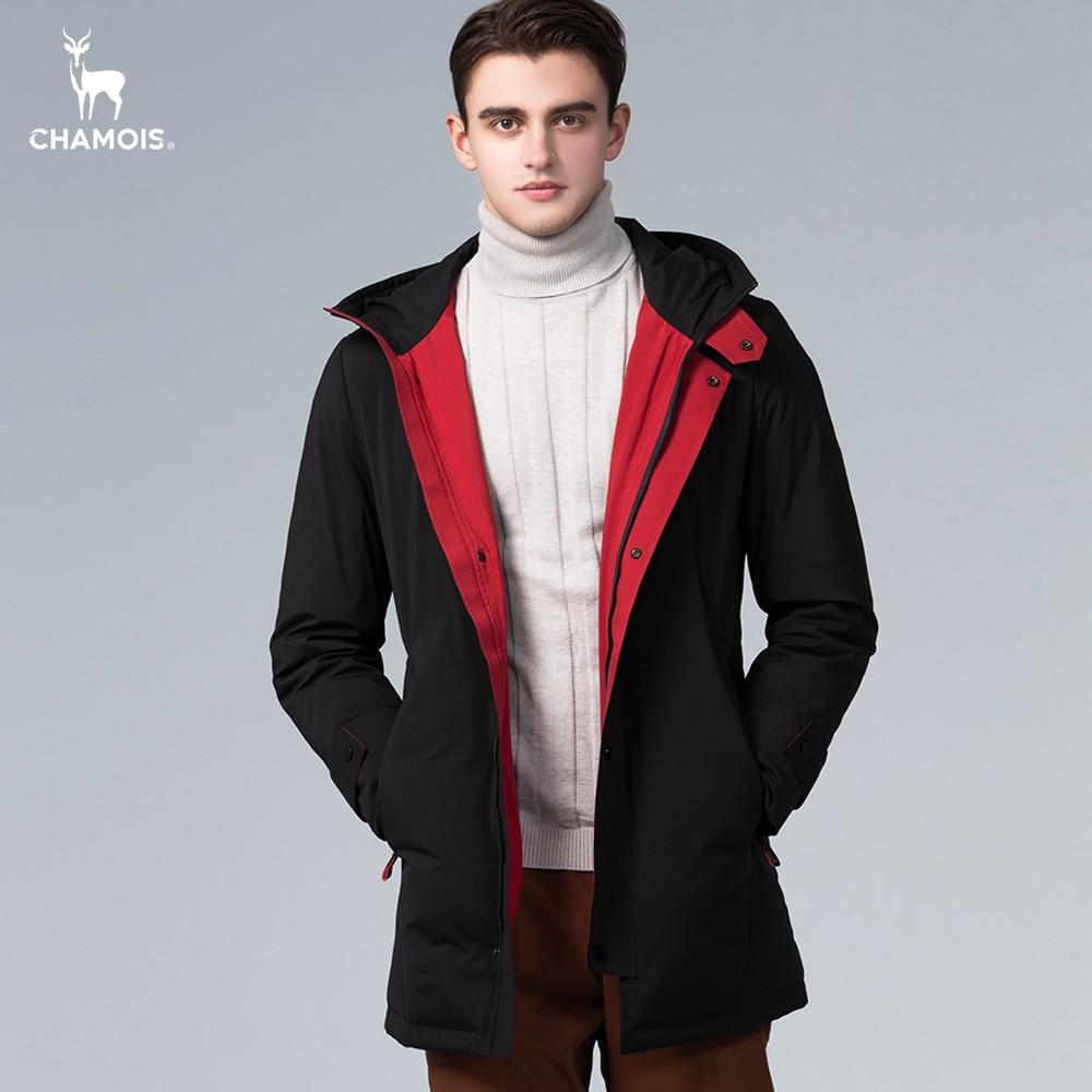 【Chamois加摩仕】個性雙色連帽長版羽絨外套(內紅外黑)