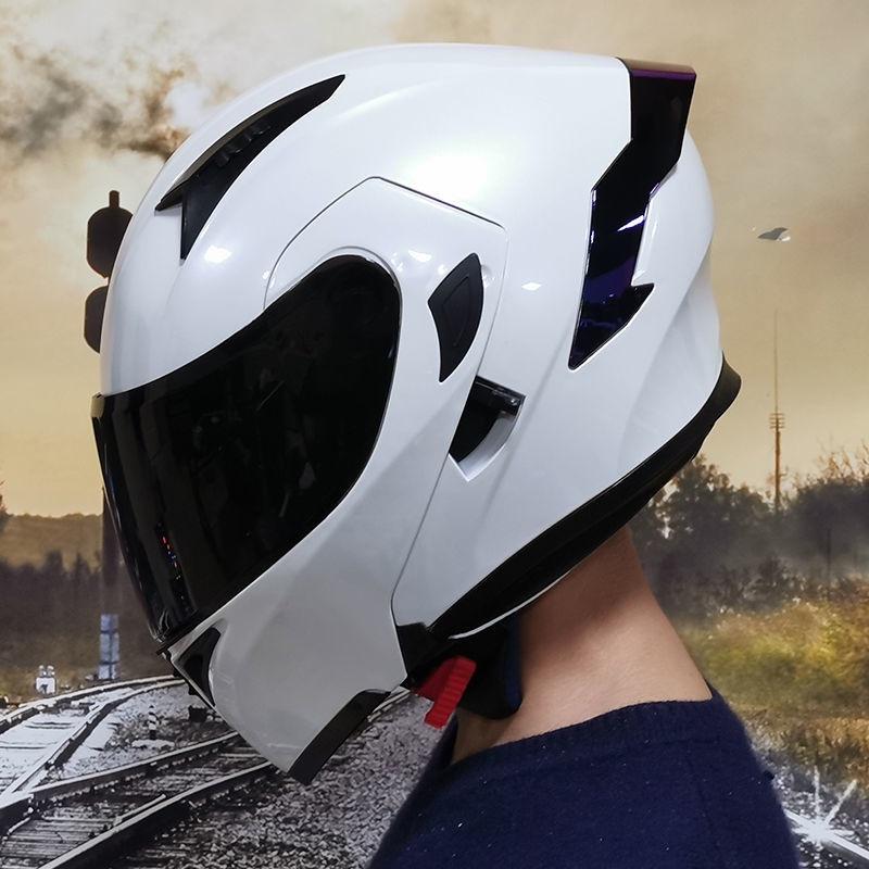 【安全保證/潮流機車頭盔安全帽】Orz頭盔男女機車揭面盔全盔尾翼半盔帽個性冬季灰