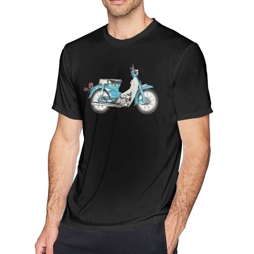 快速出貨本田C90 C70 C50 C50風格的摩托車印花男士短款圓形純棉gildan T恤