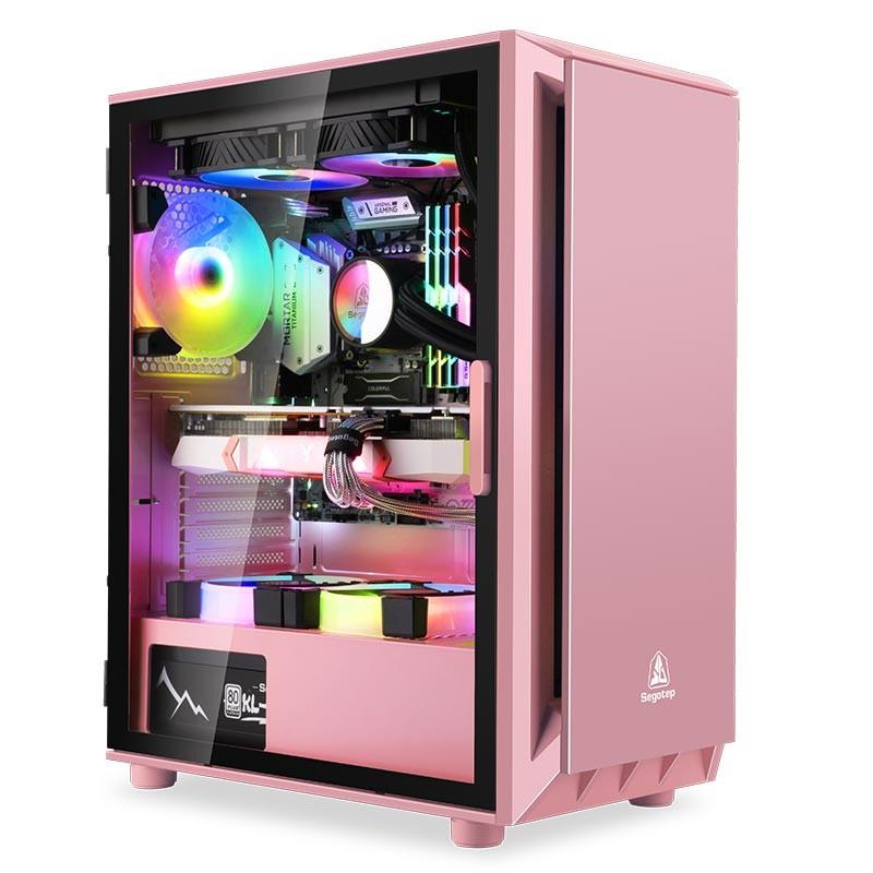 全館免運~鑫穀直男主機殼玻璃側透支持ATX大主機板桌上型電腦電腦黑色白色粉色主機殼