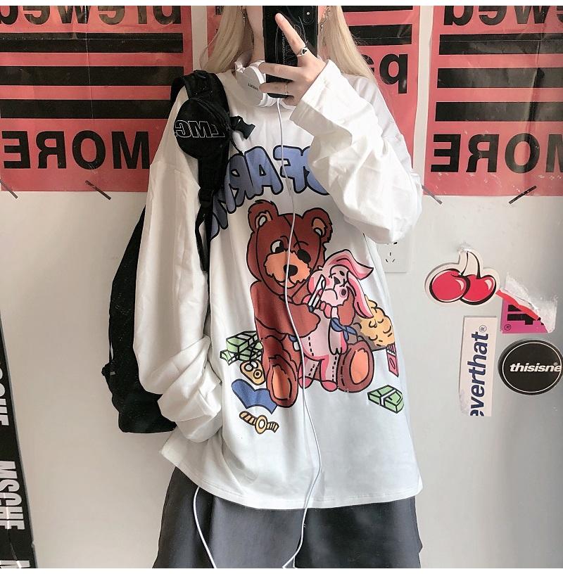 大學T 顯瘦雙磨秋裝新款韓大學T 個性印花寬鬆百搭長袖t恤上衣女