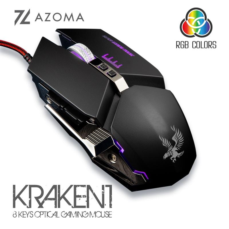 AZOMA KRAKEN1 電競光學滑鼠 8鍵 含滾輪 3200dpi USB 有線滑鼠 黑色