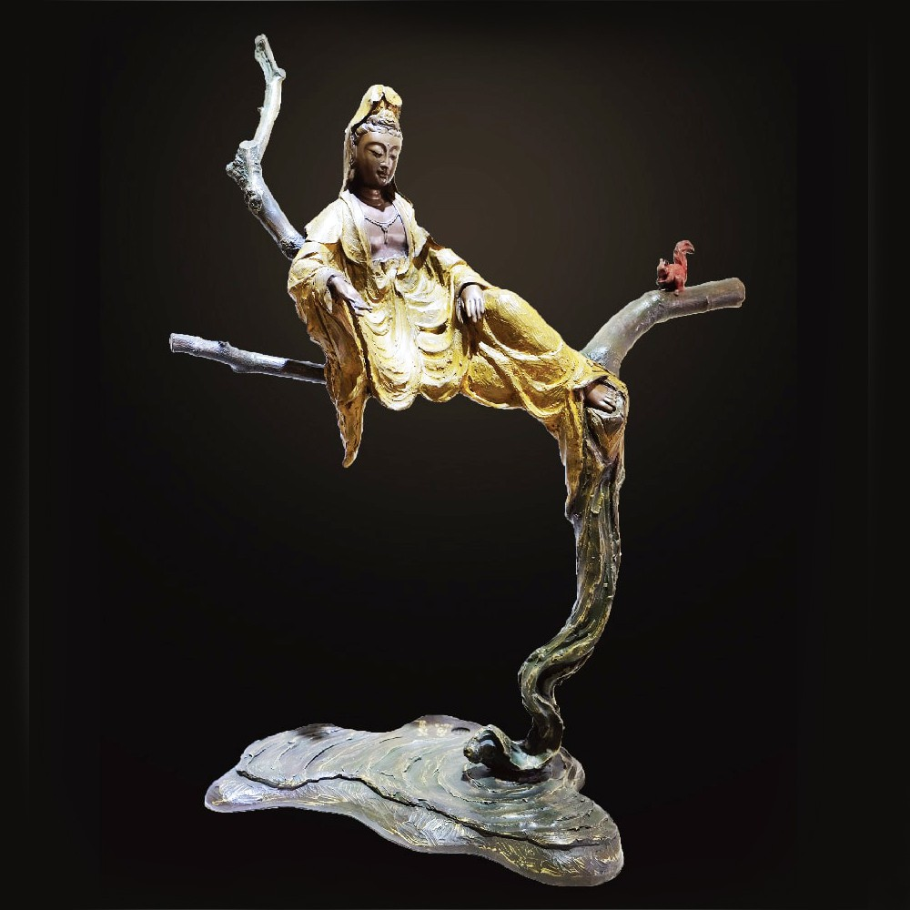 子問 限量原作銅雕 妙語自在 觀世音菩薩-有作者簽名限量件數36,附作品典藏證明書10kg 66x52x24cm