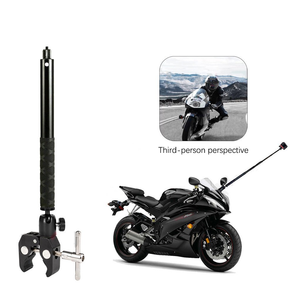 【現貨速發】適用於 Gopro Dji Insta360 One R One X2 隱形自拍桿配件的第三人透視摩托車鋁製