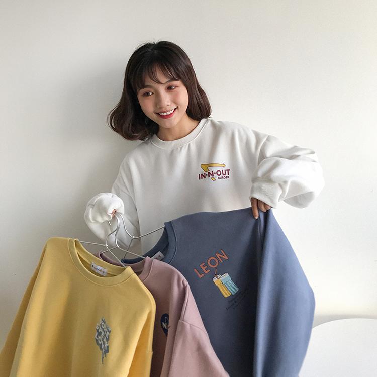 大學T 2159200秋季新款韓版字母印花寬鬆百搭圓領加厚套頭