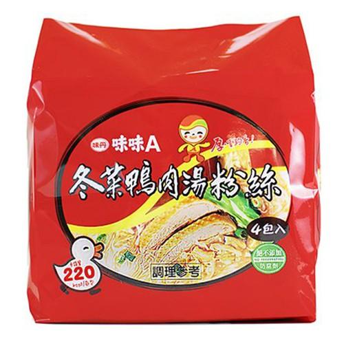 味丹 味味A 冬菜鴨肉湯粉絲 60g (4入)/袋【康鄰超市】