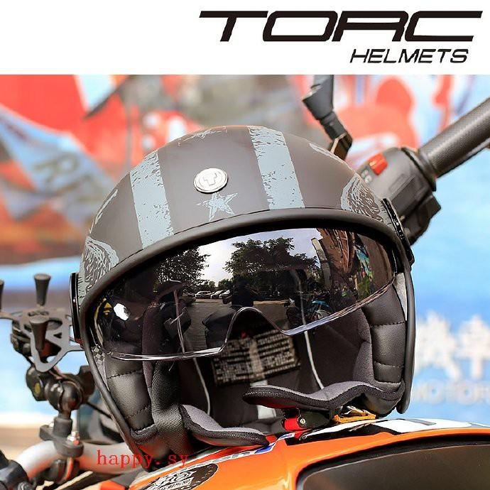 TORC復古頭盔男女四季摩托車哈雷半盔雙鏡片電動機車夏季安全帽