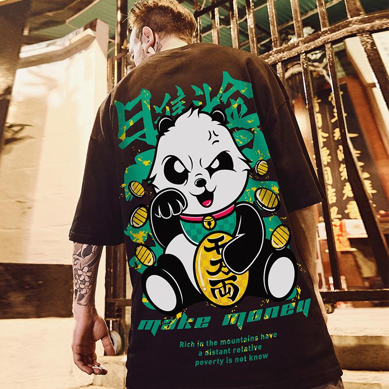 潮牌嘻哈oversize短袖T恤男半袖情侶大碼寬鬆潮流短袖T恤胖子男裝男生T恤