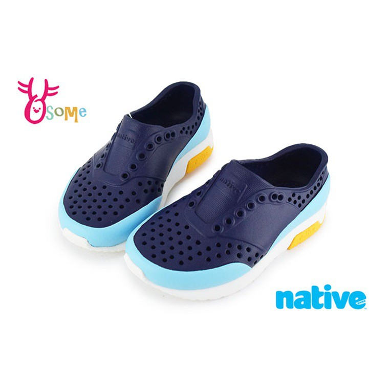 native LENNOX BLOCK 洞洞鞋 小雷諾系列 中小童 休閒鞋 K9475 藍色 OSOME奧森鞋業