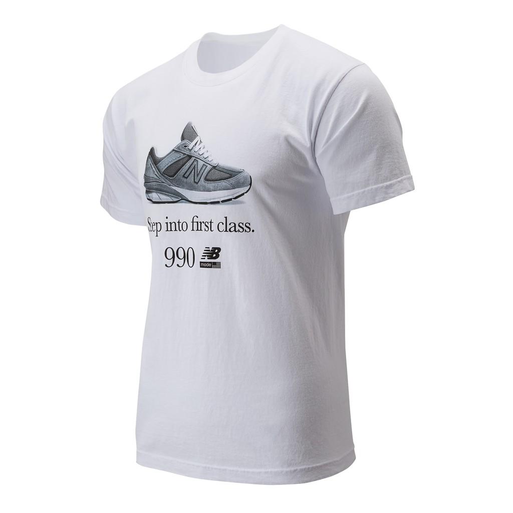 【New Balance】990V5印花短袖上衣 MT91691WT 中性 白色 美版