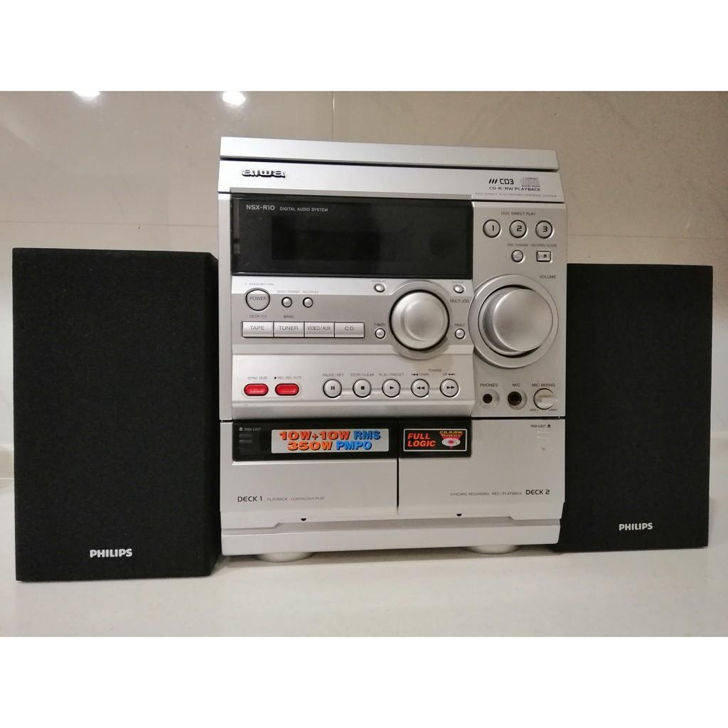【繽紛小棧】床頭音響 日本愛華 AIWA NSX-R10 + PHILIPS音箱一對