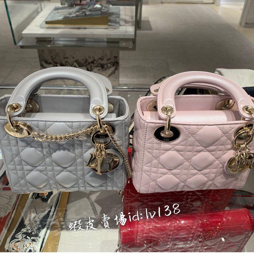法國直郵 專櫃正品 Dior迪奧包包 LADY新款菱格紋三格戴妃包 時尚百搭肩背包M05050 鏈條包 手提包