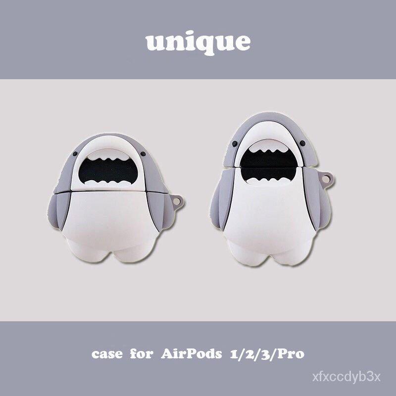 可愛鯊魚airpods硅膠保護套airpods pro蘋果無線藍牙耳機套華強北 xtLQ