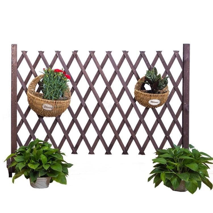 新品折現 戶外花園防腐柵欄圍欄網格花架伸縮碳化木護欄室內室外隔斷小籬笆 至简元素 免運