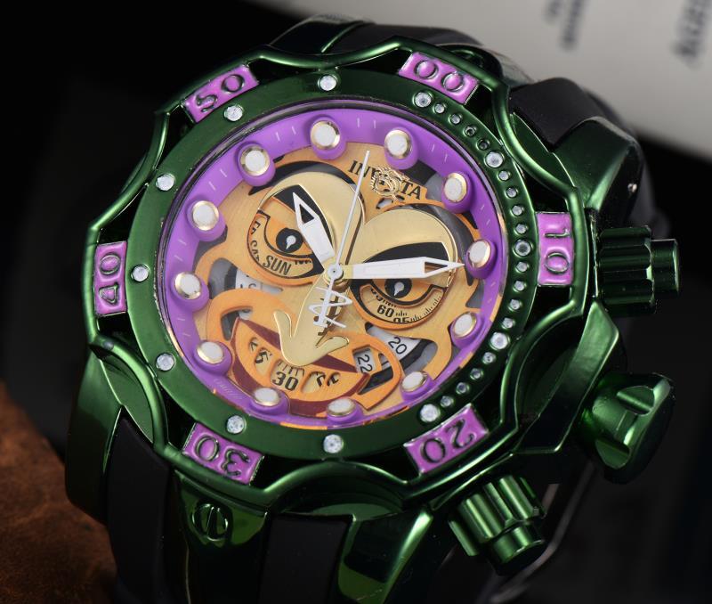 新款 Invicta 魔術小丑反轉銷售 Shi Ying 男士綠紫色矽膠錶帶手錶