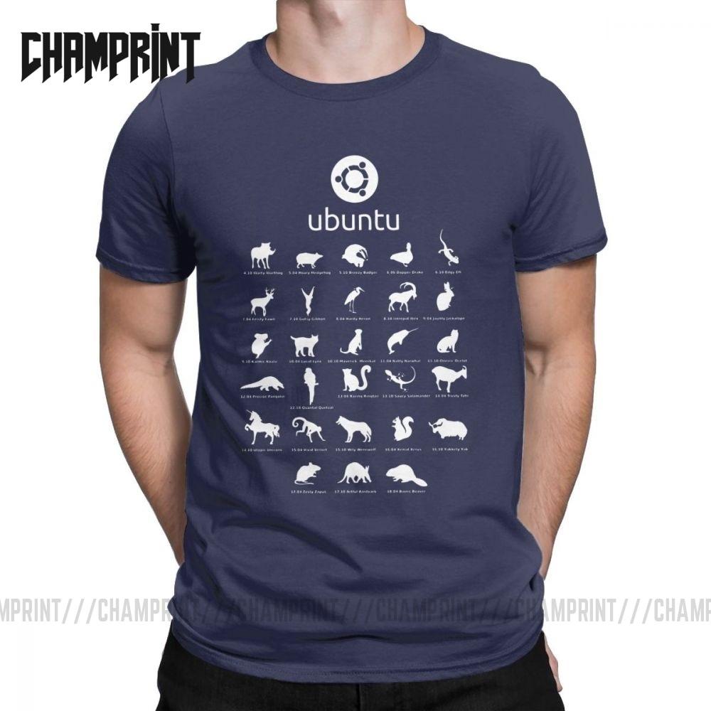 Ubuntu Linux發布男式圓領棉T卹Distro Linux Debian短袖T卹衣服的T卹