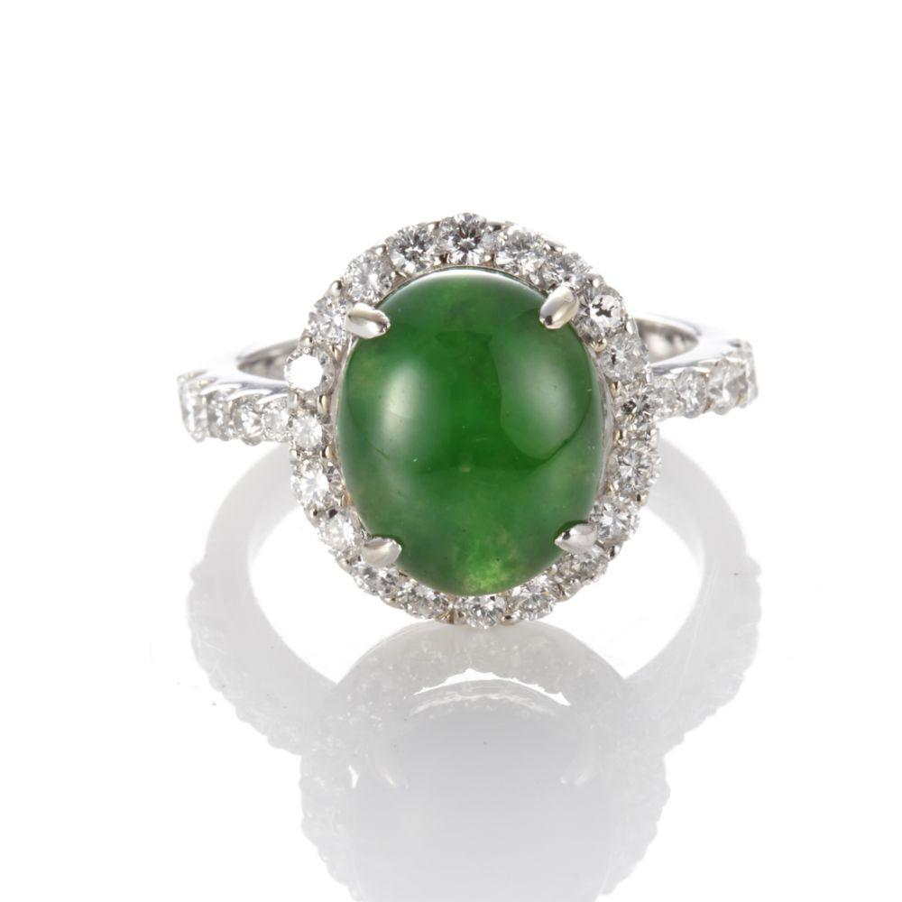 Dolly 緬甸 GRS 陽綠冰種翡翠 14K金鑽石戒指