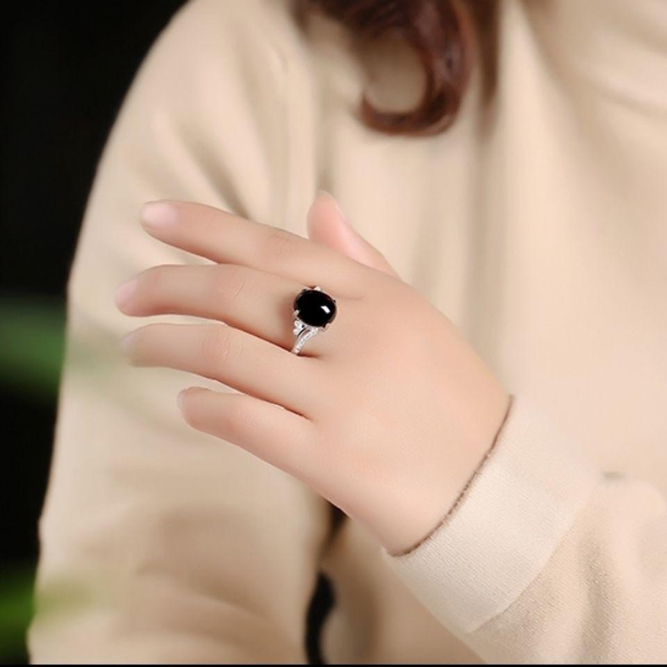 綠瑪瑙戒指女ins潮復古時尚個性黑色純銀網紅玉髓高級感時尚指環