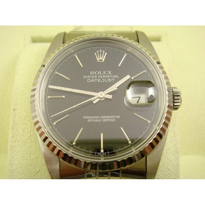 {上海當舖流當品}-Rolex/勞力士 原裝16234黑面 蠔式恒動日曆DATE-JUST型 機械男錶