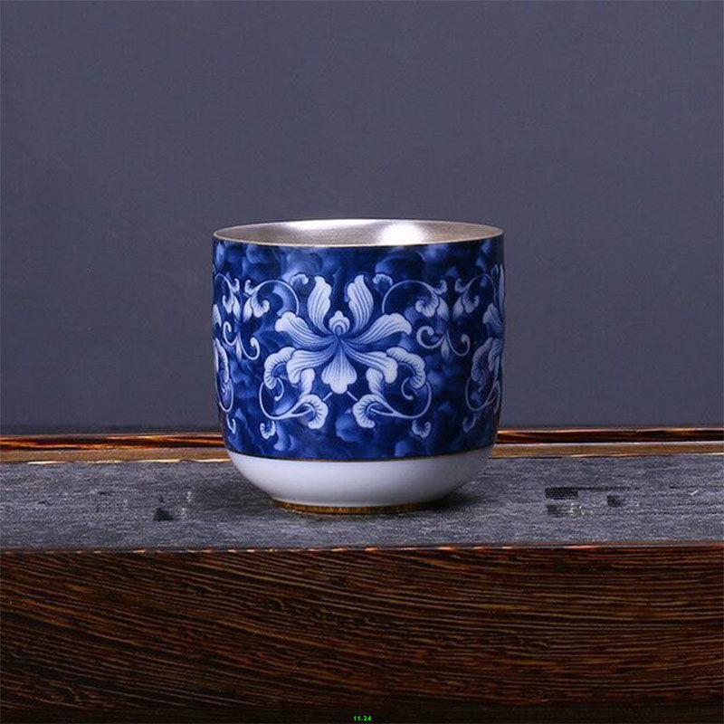 銀杯子999純銀茶杯陶瓷單個家用功夫茶具主人杯大號景德鎮青花瓷 茶具 茶杯 禮物 375
