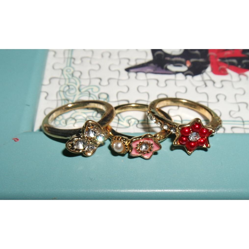 粉色 紅色 珍珠鑲小鑽 小花 戒指 三件組