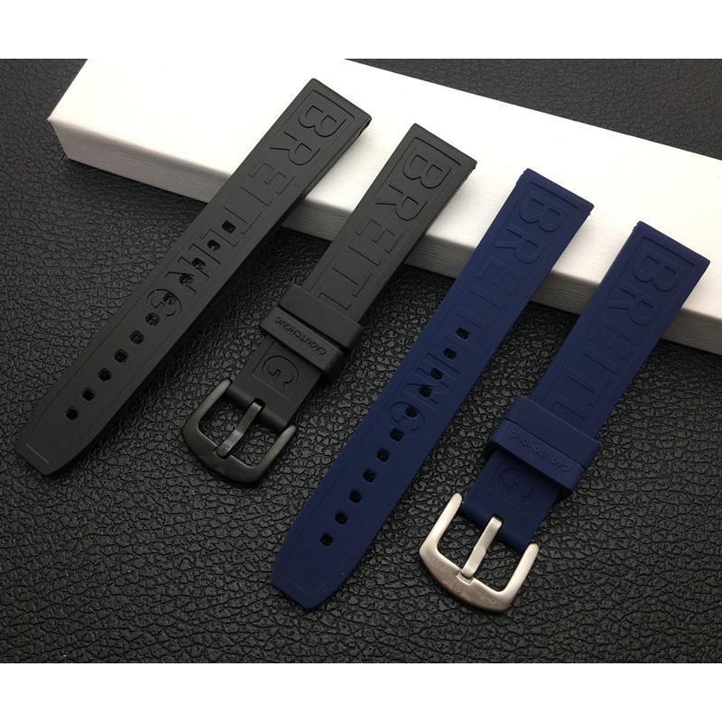 代用Breitling百年靈手表帶進口硅膠橡膠20mm超級海洋黑鳥深藍色